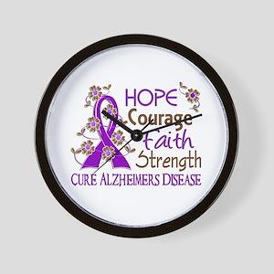 Hope Courage Faith Alzheimers Wall Clock