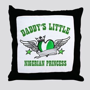 Daddy's Little Nigerian Princess Throw Pillow