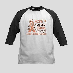 Hope Courage Faith Uterine Cancer Shirts Kids Base