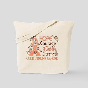 Hope Courage Faith Uterine Cancer Shirts Tote Bag
