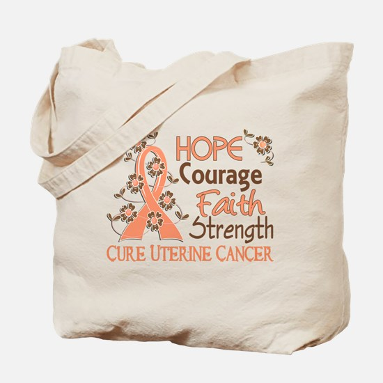 Hope Courage Faith Uterine Cancer Shirts Tote Bag