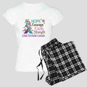 Hope Courage Faith Thyroid Cancer Shirts Women's L