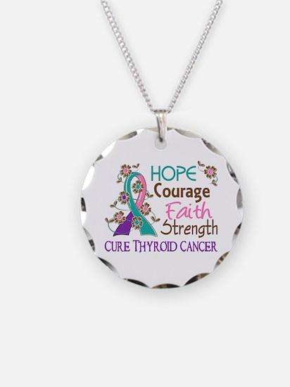 Hope Courage Faith Thyroid Cancer Shirts Necklace