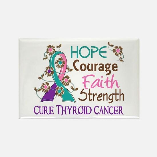 Hope Courage Faith Thyroid Cancer Shirts Rectangle