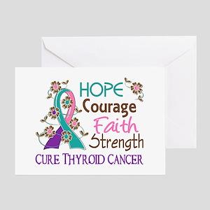 Hope Courage Faith Thyroid Cancer Shirts Greeting