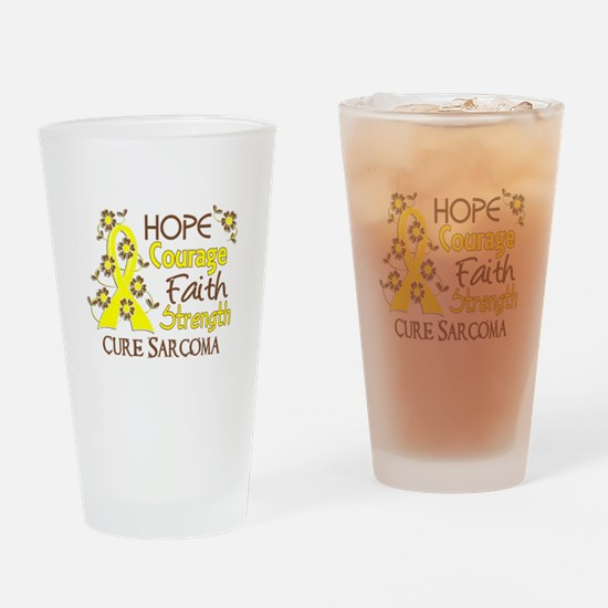 Hope Courage Faith Sarcoma Shirts Drinking Glass