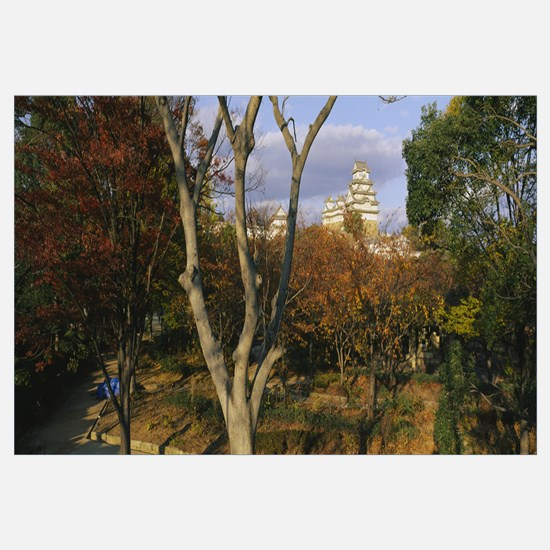 Trees in front of a castle, Himeji Castle, Himeji,