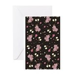Pink roses on dark background Greeting Card