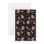 Pink roses on dark background Greeting Cards (Pk o