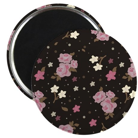 "Pink roses on dark background 2.25"" Magnet (10 pac"
