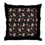 Pink roses on dark background Throw Pillow