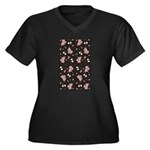 Pink roses on dark background Women's Plus Size V-