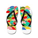 Colorful Fish Scale Pattern Flip Flops