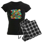 Colorful Fish Scale Pattern Women's Dark Pajamas