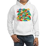 Colorful Fish Scale Pattern Hooded Sweatshirt