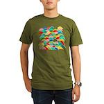 Colorful Fish Scale Pattern Organic Men's T-Shirt