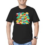 Colorful Fish Scale Pattern Men's Fitted T-Shirt (
