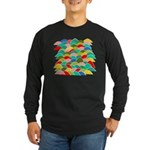 Colorful Fish Scale Pattern Long Sleeve Dark T-Shi