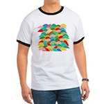 Colorful Fish Scale Pattern Ringer T