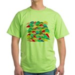 Colorful Fish Scale Pattern Green T-Shirt