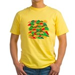 Colorful Fish Scale Pattern Yellow T-Shirt