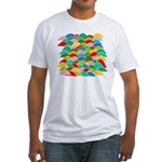 Colorful Fish Scale Pattern Fitted T-Shirt