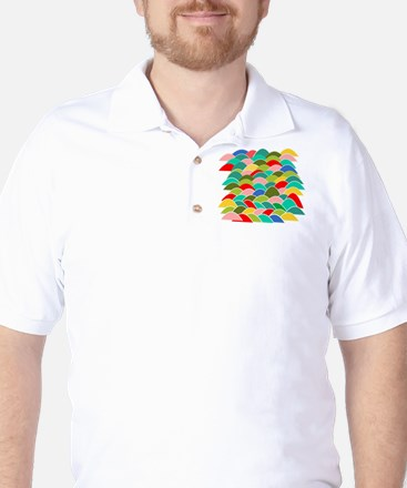 Colorful Fish Scale Pattern Golf Shirt