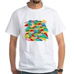 Colorful Fish Scale Pattern White T-Shirt