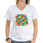 Colorful Fish Scale Pattern Women's V-Neck T-Shirt