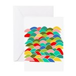 Colorful Fish Scale Pattern Greeting Card