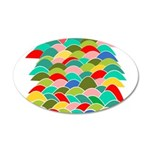 Colorful Fish Scale Pattern 38.5 x 24.5 Oval Wall