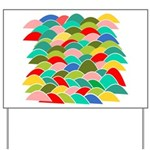 Colorful Fish Scale Pattern Yard Sign