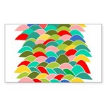 Colorful Fish Scale Pattern Sticker (Rectangle)