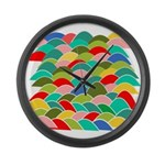 Colorful Fish Scale Pattern Large Wall Clock