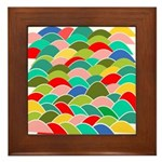 Colorful Fish Scale Pattern Framed Tile