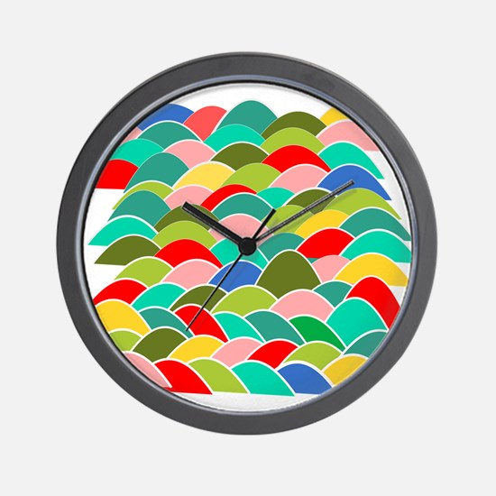 Colorful Fish Scale Pattern Wall Clock