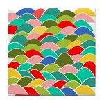 Colorful Fish Scale Pattern Tile Coaster