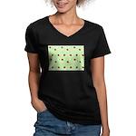 Strawberry pattern Women's V-Neck Dark T-Shirt