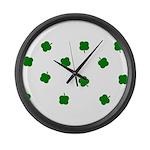 Lucky Irish Four Leafed Clove Large Wall Clock