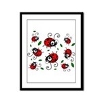 Cute Ladybug pattern Framed Panel Print