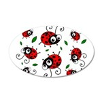 Cute Ladybug pattern 22x14 Oval Wall Peel