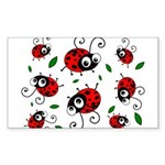 Cute Ladybug pattern Sticker (Rectangle 10 pk)