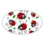 Cute Ladybug pattern Sticker (Oval 50 pk)