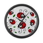 Cute Ladybug pattern Large Wall Clock