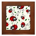 Cute Ladybug pattern Framed Tile