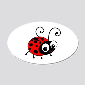 Cute Ladybug 22x14 Oval Wall Peel