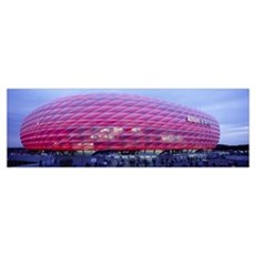 Soccer Stadium Lit Up At Dusk, Allianz Arena, Muni Poster