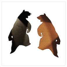 BROWN & BLACK DANCING BEAR 3 Wall Art Poster