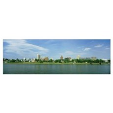 Buildings at the waterfront, Susquehanna River, Ha Poster