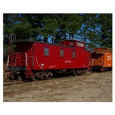 Red & Orange Caboose Wall Art Poster